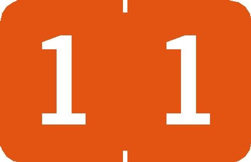 """Tabbies 90101 - TABBIES® NUMERIC 90100 LABEL SERIES, 1"""" NUMERIC LABEL '#1', ORANGE, 1""""H x 1-1/4""""W, 500/ROLL"""