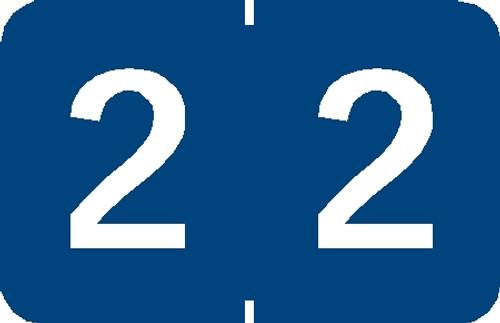 """Tabbies 90102 - TABBIES® NUMERIC 90100 LABEL SERIES, 1"""" NUMERIC LABEL '#2', BLUE, 1""""H x 1-1/4""""W, 500/ROLL"""