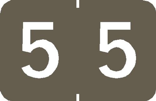 "Tabbies 90105 - TABBIES® NUMERIC 90100 LABEL SERIES, 1"" NUMERIC LABEL '#5', GRAY, 1""H x 1-1/4""W, 500/ROLL"