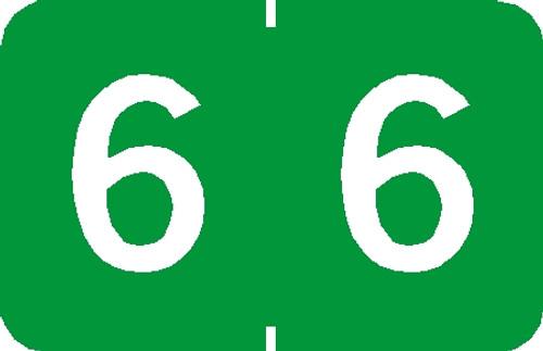 """Tabbies 90106 - TABBIES® NUMERIC 90100 LABEL SERIES, 1"""" NUMERIC LABEL '#6', LIGHT GREEN, 1""""H x 1-1/4""""W, 500/ROLL"""