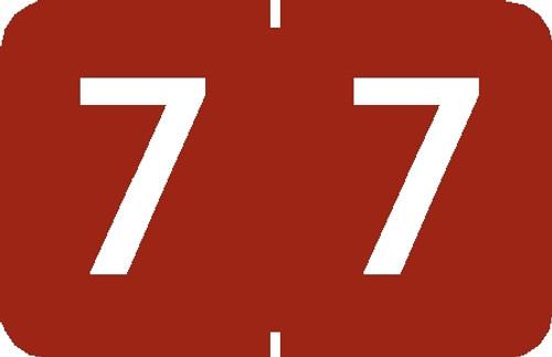 "Tabbies 90107 - TABBIES® NUMERIC 90100 LABEL SERIES, 1"" NUMERIC LABEL '#7', RED, 1""H x 1-1/4""W, 500/ROLL"