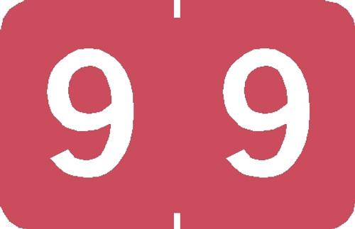 "Tabbies 90109 - TABBIES® NUMERIC 90100 LABEL SERIES, 1"" NUMERIC LABEL '#9', PINK, 1""H x 1-1/4""W, 500/ROLL"