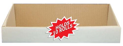 """Tabbies 90110 - TABBIES® NUMERIC LABEL SERIES DISPENSER CONTAINER, 10-ROLL DISPENSER CONTAINER ONLY, WHITE, 13-1/4""""L x 4-3/8""""W x 1-3/4""""H, 10 ROLLS/KIT"""