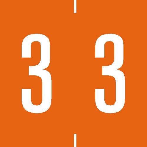 "Tabbies 94903 - AMES COMPATIBLE NUMERIC 94900 LABEL SERIES, 1-7/8"" NUMERIC LABEL '#3', ORANGE, 1-7/8""H x 1-7/8""W, 500/ROLL"