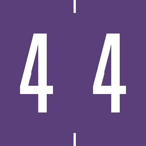 """Tabbies 94904 - AMES COMPATIBLE NUMERIC 94900 LABEL SERIES, 1-7/8"""" NUMERIC LABEL '#4', PURPLE, 1-7/8""""H x 1-7/8""""W, 500/ROLL"""