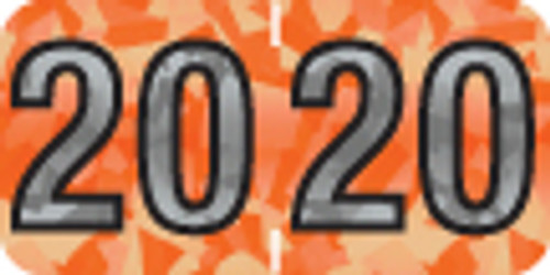 """Tabbies 97420 - PMA HOLOGRAPHIC COMPATIBLE YEARCODE 97100 LABEL SERIES, 3/4"""" HOLOGRAPHIC YEARCODE LABEL '20', ORANGE, 3/4""""H x 1-1/2""""W, 500/ROLL"""
