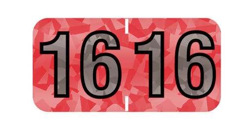 """Tabbies 97516 - PMA HOLOGRAPHIC COMPATIBLE YEARCODE 97100 LABEL SERIES, 3/4"""" HOLOGRAPHIC YEARCODE LABEL '16', RED, 3/4""""H x 1-1/2""""W, 500/ROLL"""