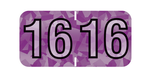 """Tabbies 97616 - PMA HOLOGRAPHIC COMPATIBLE YEARCODE 97100 LABEL SERIES, 3/4"""" HOLOGRAPHIC YEARCODE LABEL '16', VIOLET, 3/4""""H x 1-1/2""""W, 500/ROLL"""