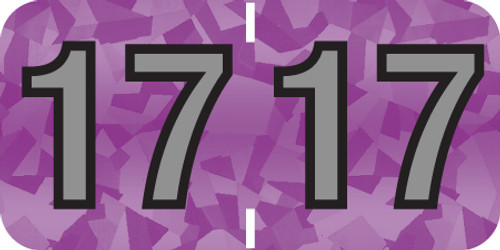 """Tabbies 97617 - PMA HOLOGRAPHIC COMPATIBLE YEARCODE 97100 LABEL SERIES, 3/4"""" HOLOGRAPHIC YEARCODE LABEL '17', VIOLET, 3/4""""H x 1-1/2""""W, 500/ROLL"""