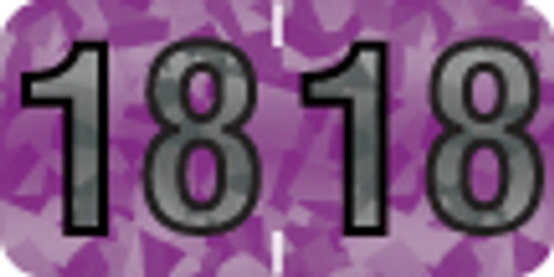 """Tabbies 97618 - PMA HOLOGRAPHIC COMPATIBLE YEARCODE 97100 LABEL SERIES, 3/4"""" HOLOGRAPHIC YEARCODE LABEL '18', VIOLET, 3/4""""H x 1-1/2""""W, 500/ROLL"""