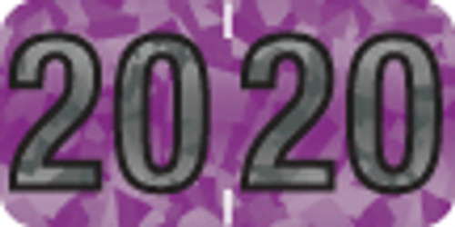 """Tabbies 97620 - PMA HOLOGRAPHIC COMPATIBLE YEARCODE 97100 LABEL SERIES, 3/4"""" HOLOGRAPHIC YEARCODE LABEL '20', VIOLET, 3/4""""H x 1-1/2""""W, 500/ROLL"""