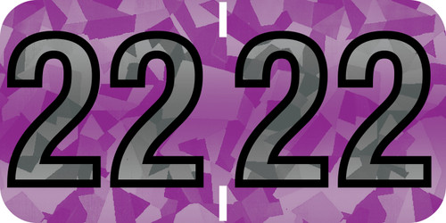 """Tabbies 97622 - PMA HOLOGRAPHIC COMPATIBLE YEARCODE 97100 LABEL SERIES, 3/4"""" HOLOGRAPHIC YEARCODE LABEL '22', VIOLET, 3/4""""H x 1-1/2""""W, 500/ROLL"""