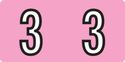 """Tabbies 140-3 - KARDEX PSF-140 COMPATIBLE NUMERIC LABEL SERIES, 1/2"""" NUMERIC LABELS '#3', PINK, 1/2""""H x 1""""W, 500/ROLL"""