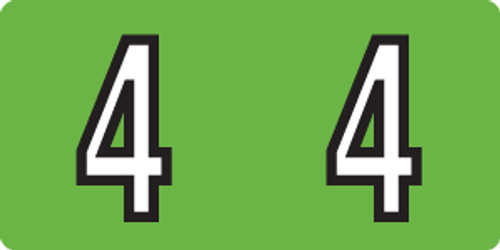"""Tabbies 140-4 - KARDEX PSF-140 COMPATIBLE NUMERIC LABEL SERIES, 1/2"""" NUMERIC LABELS '#4', GREEN, 1/2""""H x 1""""W, 500/ROLL"""