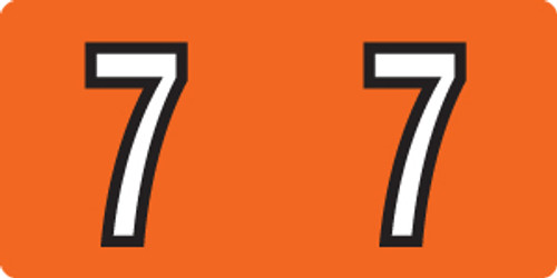 """Tabbies 140-7 - KARDEX PSF-140 COMPATIBLE NUMERIC LABEL SERIES, 1/2"""" NUMERIC LABELS '#7', ORANGE, 1/2""""H x 1""""W, 500/ROLL"""