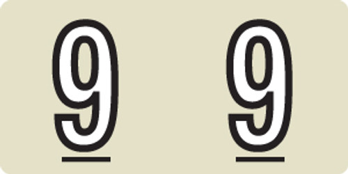 """Tabbies 140-9 - KARDEX PSF-140 COMPATIBLE NUMERIC LABEL SERIES, 1/2"""" NUMERIC LABELS '#9', TAN, 1/2""""H x 1""""W, 500/ROLL"""