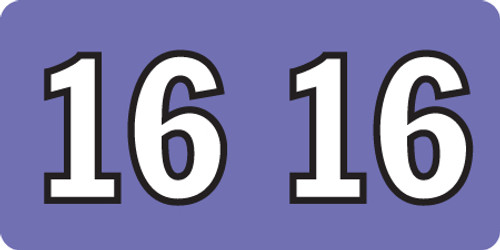 """Tabbies ISDA 16 - ISDA COMPATIBLE YEARCODE LABEL SERIES, 3/4"""" YEARCODE LABEL '16', VIOLET, 3/4""""H x 1-1/2""""W, 500/ROLL"""