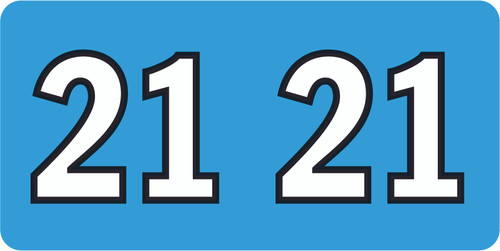 """Tabbies ISDA 21 - ISDA COMPATIBLE YEARCODE LABEL SERIES, 3/4"""" YEARCODE LABEL '21', FLUORESCENT BLUE, 3/4""""H x 1-1/2""""W, 500/ROLL"""