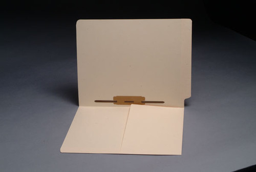 End Tab Folder with 1/2 Pocket Inside Front - 1 Fastener in Position 5 - Reinforced Tab - 11 PT. Manila - Letter Size - Box of 50