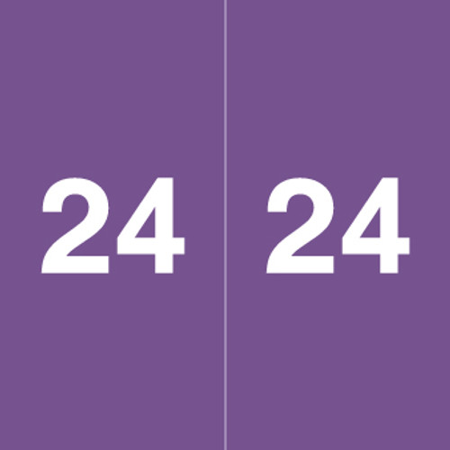 """Ames Colorfile 2024 Yearband Label - Purple - Laminated - 1-7/8"""" H x 1-7/8"""" W - 500/Roll"""