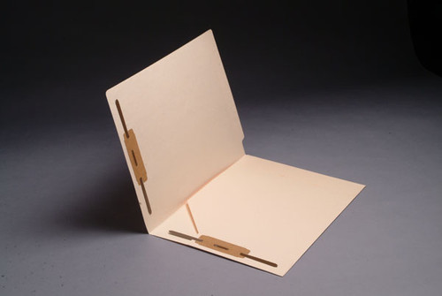 Full Size Diagonal Pocket  Inside Front with Fasteners in Positions 1 & 3 - 11 pt Manila End Tab Folders - Letter Size - Full Cut End Tab (Box of 50)