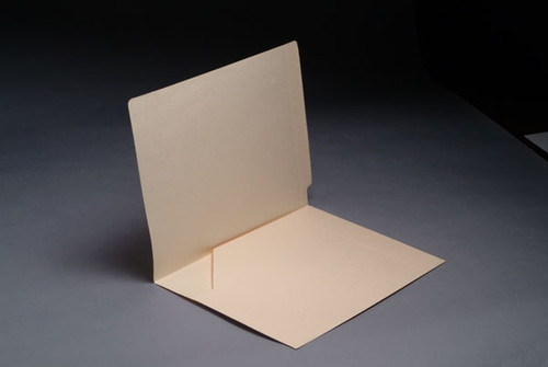 Full Size Diagonal Pocket  Inside Front with Fasteners in Position 1 - 11 pt Manila End Tab Folders - Letter Size - Full Cut End Tab (Box of 50)