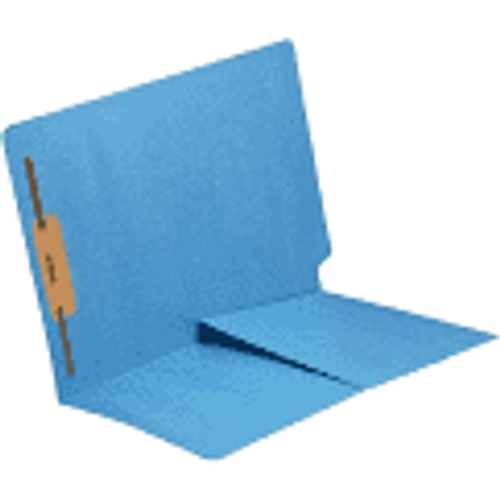 End Tab Folder with 1/2 Pocket Inside Front - 11 Pt. BLUE Colored Stock - 1 Fastener in Position #1 - Reinforced Tab - Letter Size - 50/Box