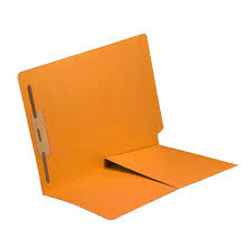 End Tab Folder with 1/2 Pocket Inside Front - 11 Pt. Colored Stock Available in 10 Colors -  Gold - 1 Fastener in Position #1 - Reinforced Tab - Letter Size - 50/Box