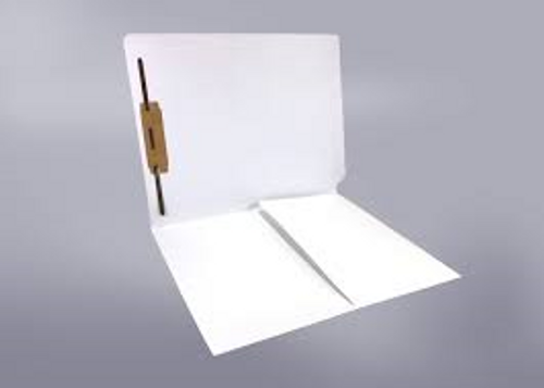 End Tab Folder with 1/2 Pocket Inside Front - 11 Pt. Colored Stock Available in 10 Colors -  White - 1 Fastener in Position #1 - Reinforced Tab - Letter Size - 50/Box