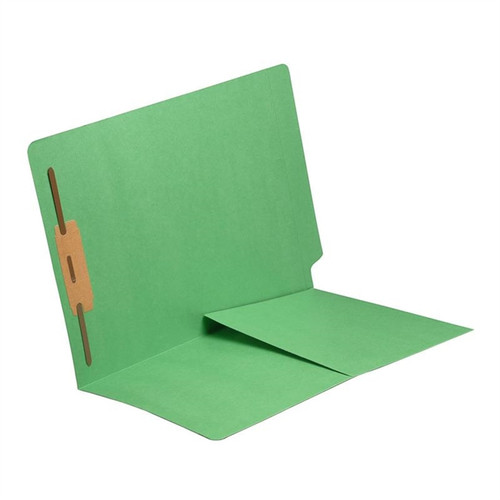 End Tab Folder with 1/2 Pocket Inside Front - 11 Pt. Colored Stock Available in 10 Colors -  Green - 1 Fastener in Position #1 - Reinforced Tab - Letter Size - 50/Box