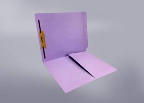 End Tab Folder with 1/2 Pocket Inside Front - 11 Pt. Colored Stock Available in 10 Colors -  Lavender - 1 Fastener in Position #1 - Reinforced Tab - Letter Size - 50/Box