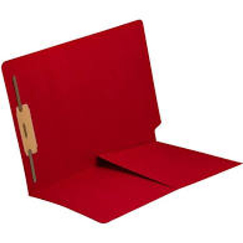 End Tab Folder with 1/2 Pocket Inside Front - 11 Pt. Colored Stock Available in 10 Colors -  Red - 1 Fastener in Position #1 - Reinforced Tab - Letter Size - 50/Box