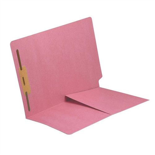 End Tab Folder with 1/2 Pocket Inside Front - 11 Pt. Colored Stock Available in 10 Colors -  Pink - 1 Fastener in Position #1 - Reinforced Tab - Letter Size - 50/Box