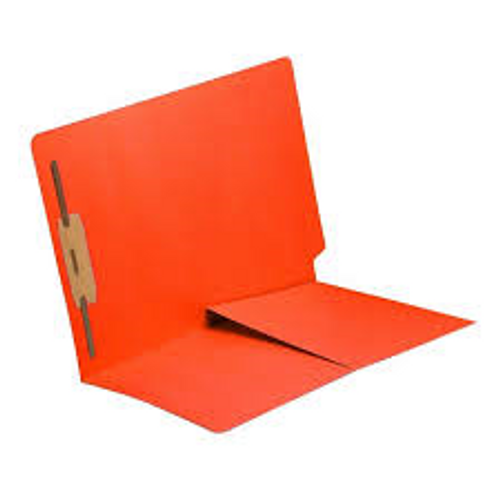 End Tab Folder with 1/2 Pocket Inside Front - 11 Pt. Colored Stock Available in 10 Colors -  Orange - 1 Fastener in Position #1 - Reinforced Tab - Letter Size - 50/Box