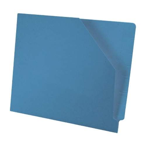 Colored End Tab Pocket Folder with Slant Cut Pocket, Full Cut End Tab, Letter Size - Blue - 100/Box