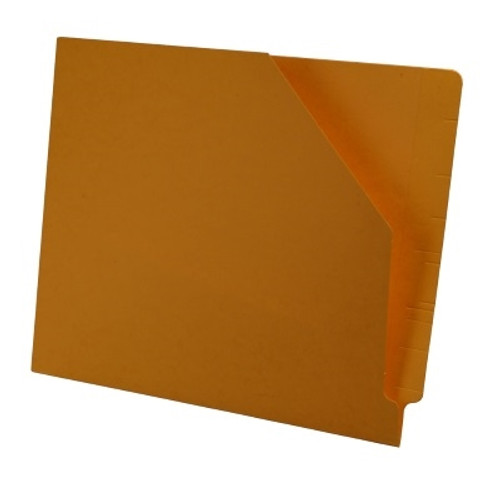 Colored End Tab Pocket Folder with Slant Cut Pocket, Full Cut End Tab, Letter Size - Gold - 100/Box