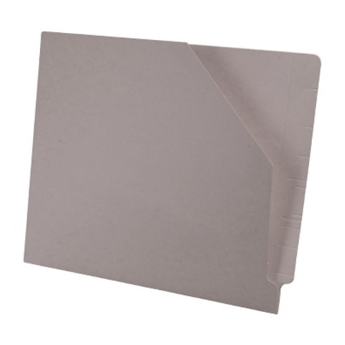Colored End Tab Pocket Folder with Slant Cut Pocket, Full Cut End Tab, Letter Size - Grey - 100/Box