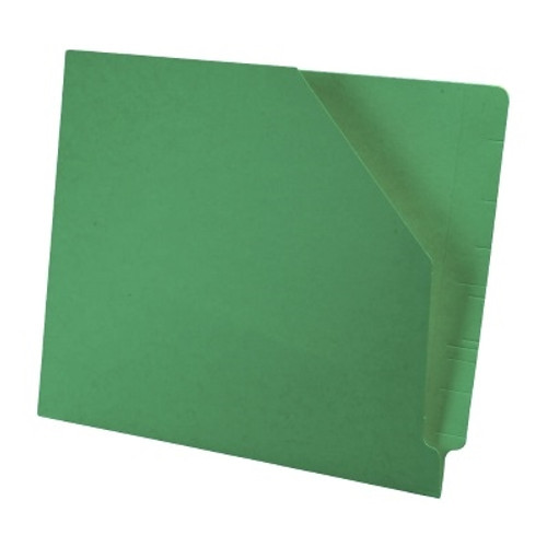 Colored End Tab Pocket Folder with Slant Cut Pocket, Full Cut End Tab, Letter Size - Green - 100/Box