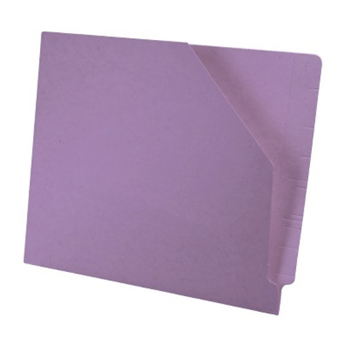 Colored End Tab Pocket Folder with Slant Cut Pocket, Full Cut End Tab, Letter Size - Lavender - 100/Box