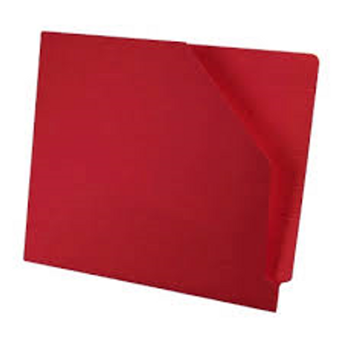 Colored End Tab Pocket Folder with Slant Cut Pocket, Full Cut End Tab, Letter Size - Red - 100/Box