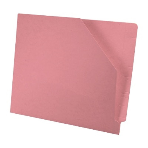 Colored End Tab Pocket Folder with Slant Cut Pocket, Full Cut End Tab, Letter Size - Pink - 100/Box