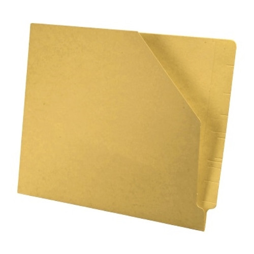 Colored End Tab Pocket Folder with Slant Cut Pocket, Full Cut End Tab, Letter Size - Yellow - 100/Box