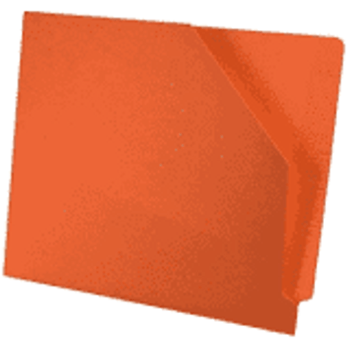 Colored End Tab Pocket Folder with Slant Cut Pocket, Full Cut End Tab, Letter Size - Orange - 100/Box