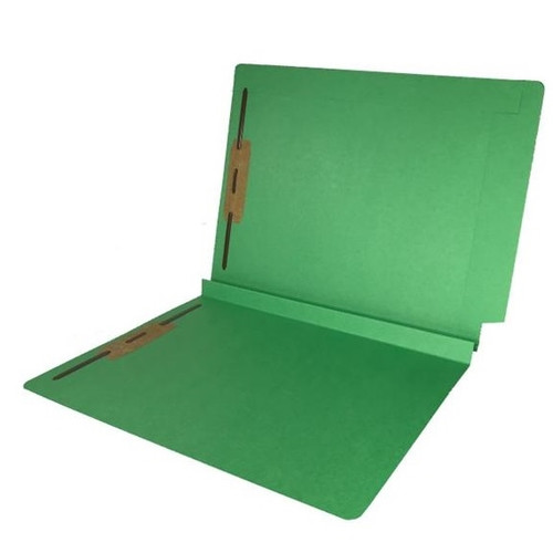 """Colored Expansion Folders - Reinforced Top & End Tabs - 1-1/2"""" Expansion - 14 PT. Green - Fasteners in Positions 1 & 3 - Letter Size - 50/Box"""