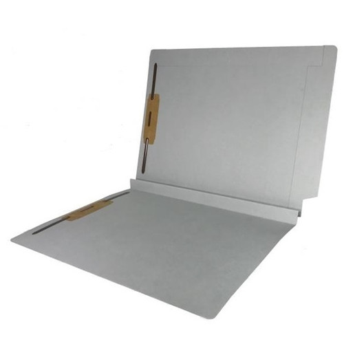 """Colored Expansion Folders - Reinforced Top & End Tabs - 1-1/2"""" Expansion - 14 PT. Grey - Fasteners in Positions 1 & 3 - Letter Size - 50/Box"""