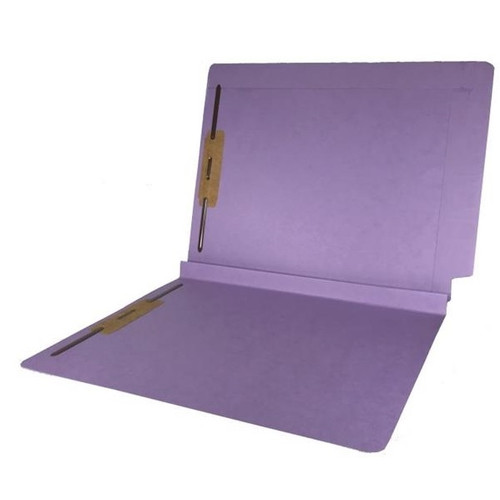 """Colored Expansion Folders - Reinforced Top & End Tabs - 1-1/2"""" Expansion - 14 PT. Lavender - Fasteners in Positions 1 & 3 - Letter Size - 50/Box"""