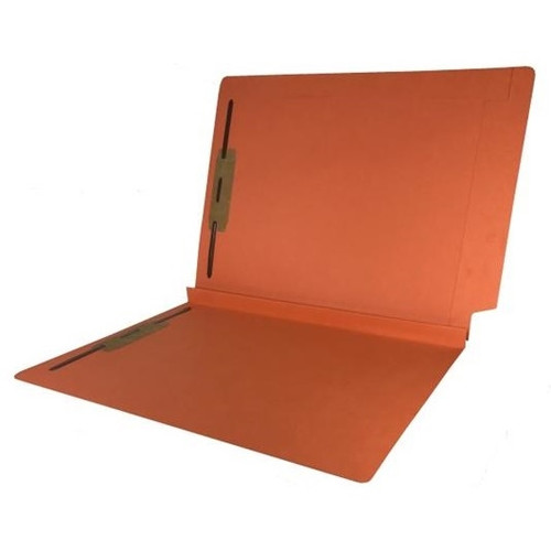 """Colored Expansion Folders - Reinforced Top & End Tabs - 1-1/2"""" Expansion - 14 PT. Orange - Fasteners in Positions 1 & 3 - Letter Size - 50/Box"""