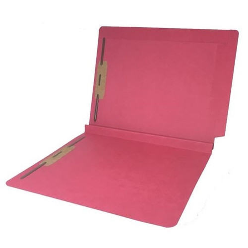 """Colored Expansion Folders - Reinforced Top & End Tabs - 1-1/2"""" Expansion - 14 PT. Red - Fasteners in Positions 1 & 3 - Letter Size - 50/Box"""