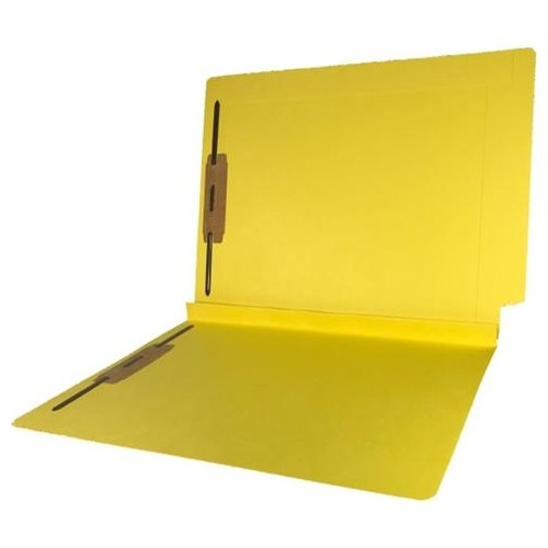 """Colored Expansion Folders - Reinforced Top & End Tabs - 1-1/2"""" Expansion - 14 PT. Yellow - Fasteners in Positions 1 & 3 - Letter Size - 50/Box"""