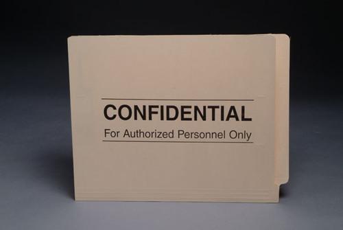 """Confidential"" Pre-Printed File Folder - End Tab Folder - 11 Pt. Manila - Reinforced Tab - Letter Size - 50/Box"